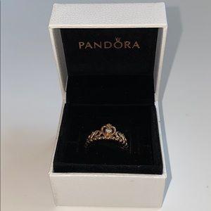 Rose gold Princess Tiara Pandora ring NEW